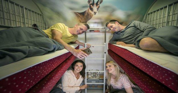 Nouveau Train de nuit-Concept: Avec train de Marchandises-les wagons-lits à travers l'Europe - Vue