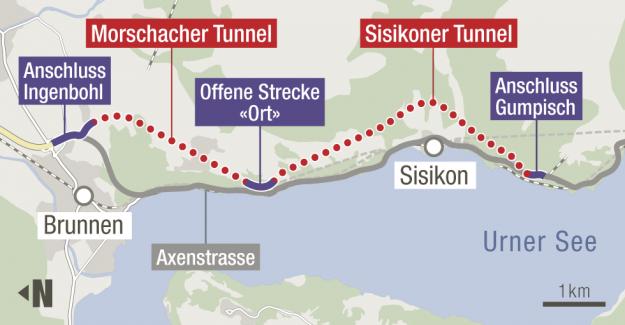 Sisikon UR: Soulèvement en raison bloqués Axenstrasse - Vue