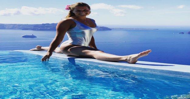 Ski: Corinne Suter se prélassant au bord de la Piscine - Vue