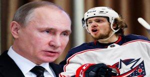 Russe de la LNH Star Artemy Panarin attaque Poutine frontale Vue